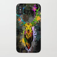 popart iPhone & iPod Cases featuring Deer PopArt Dripping Paint by BluedarkArt