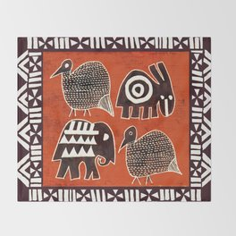 African Animal Folk Art Throw Blanket
