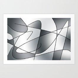 ABSTRACT CURVES #2 (Grays) Art Print
