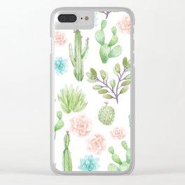 watercolor succulents Clear iPhone Case