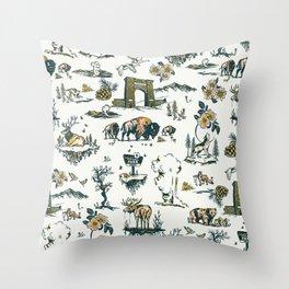 Yellowstone National Park Travel Pattern Design Throw Pillow