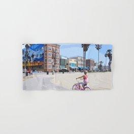Riding bike in Venice Beach Hand & Bath Towel