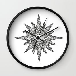Surf in a Windrose – Compass (tattoo style) Wall Clock