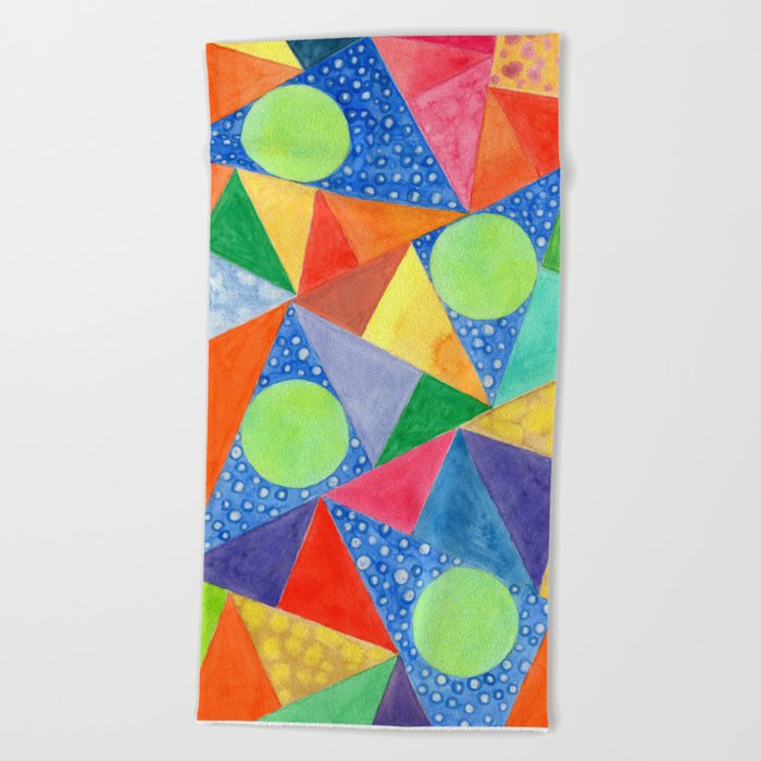 Lime Green Circles within a Cool Triangles Pattern Beach Towel
