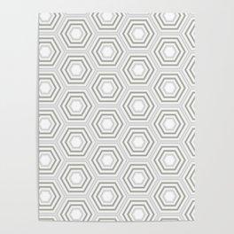 Silver Hexagon Mix Match Pattern Poster