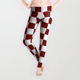 Vintage New England Shaker Barn Red and White Milk Paint Jumbo Square Checker Pattern Leggings