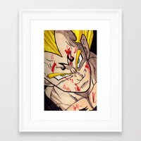 vegeta Framed Art Prints featuring Vegeta by DeMoose_Art