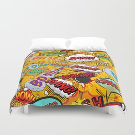 Comic Book Pop Art Shout Outs Modern Fun Duvet Cover