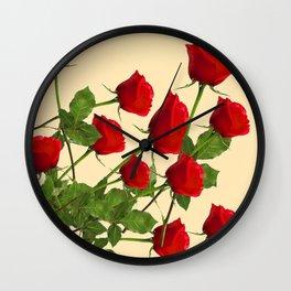 SCATTERED RED LONG STEM ROSES BOTANICAL ART Wall Clock