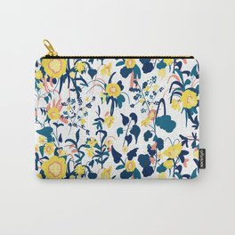 Buttercup yellow, salmon pink, and navy blue flowers on white background pattern Carry-All Pouch
