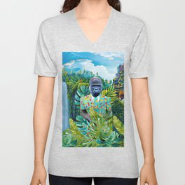 Gorilla in the jungle Unisex V-Neck