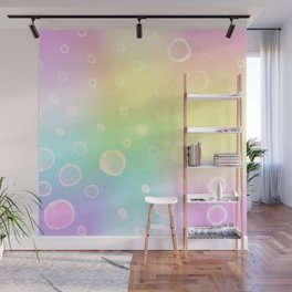 Magical Rainbow Gradient with Watercolor Bubbles Wall Mural