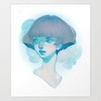 loish Art Prints featuring visage - blue by loish