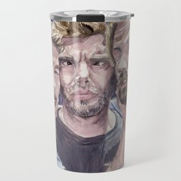 Team Free Will 2.: Misha Collins; Jared Padalecki and Jensen Ackles, watercolor painting Travel Mug