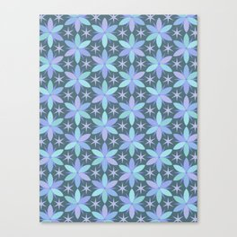 Star Flowers in cool colors Canvas Print