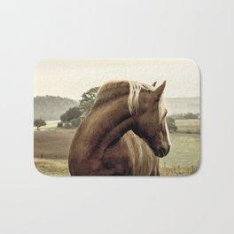 brown horse on the hill Bath Mat