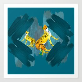 Panther Jungle Hideout Teal Art Print