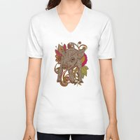 paisley V-neck T-shirts featuring Paisley Piggy by Valentina Harper