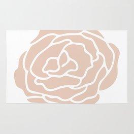 Rose in Vintage Rose Pink on White Rug