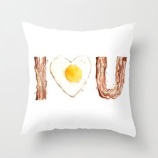 Bacon and Egg LOVE I Heart You Food Lovers Throw Pillow