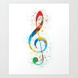 Treble Clef Paint Splatter Art Colorful & Vibrant Art Print
