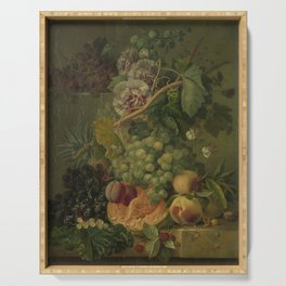 Still Life with Flowers and Fruits, Albertus Jonas Brandt (1816 - 1817) Serving Tray
