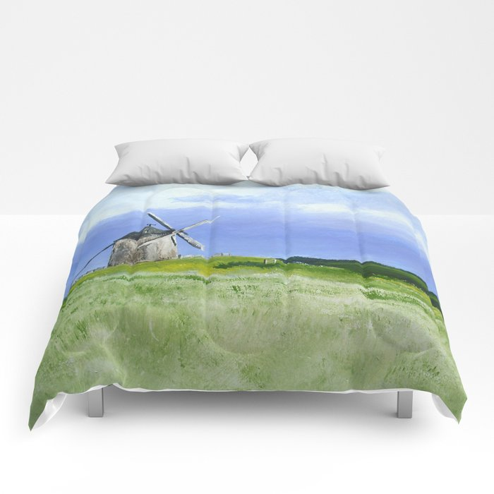 Windmill French Countryside Acrylics On Paper Comforters
