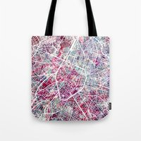brussels Tote Bags featuring Brussels Map by MapMapMaps.Watercolors