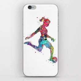 Girl Soccer Player Watercolor Print Sports Print Soccer Player Poster iPhone Skin