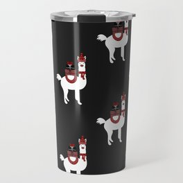 Christmas Llama Pattern on black Travel Mug
