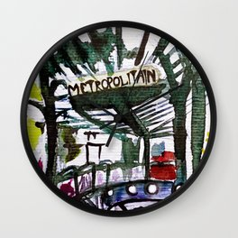 Paris Metro Sketch Chatelet Wall Clock