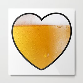 Beer Pint Heart Metal Print