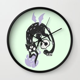 Creepy Cute Black Cat Wall Clock