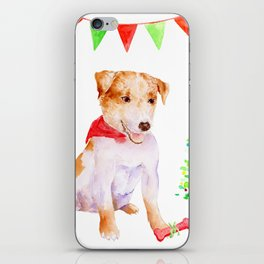 Watercolor Pet Portrait Dog Terrier Christmas iPhone Skin