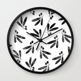 Olive Branches over White Wall Clock