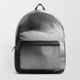 White Feather In Black And White Bokeh Background #decor #society6 #buyart Backpack