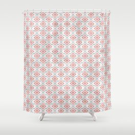 Shabby Modern Folksy Farmhouse Flowers and Arrows in Faded Red Blue Gray Shower Curtain