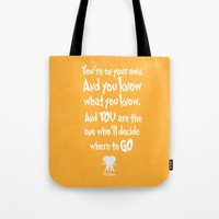 dr seuss Tote Bags featuring dr seuss: you're on your way by studiomarshallarts