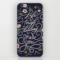 Life is tough my darling but so are you - Navy iPhone Skin