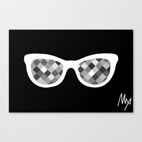 Diamond Eyes White on Black Canvas Print