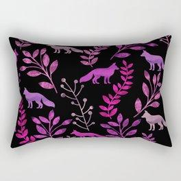 Watercolor Floral & Fox II Rectangular Pillow