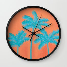 Turquoise Palms Wall Clock