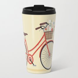 Flower Basket Bicycle Illustration Travel Mug