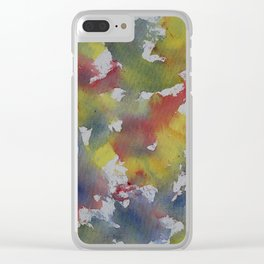 Red Blue Yellow Watercolor Clear iPhone Case