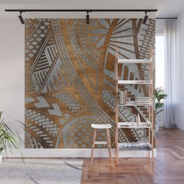 Ethnic Geometric Wooden texture pattern Wall Mural