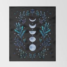 Moonlight Garden - Blue Throw Blanket