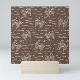 Sea Otters on Taupe Mini Art Print