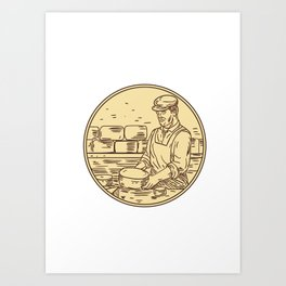 Cheesemaker Making Cheddar Cheese Circle Drawing Art Print