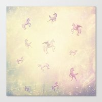 unicorns Canvas Prints featuring Unicorns by Bloody Diamonds Shop