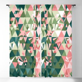 Polygonal Geometric in Rose Bush • Mid-Century Modern Triangle Pattern Blackout Curtain